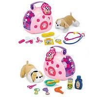 Собачка 215-2 (24шт) 17см, 2вида(аксессуары,набор доктора),чемодан,в кульке, 21-20-15см