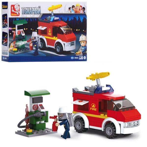 Конструктор SLUBAN M38-B0623 (72шт) пожарная машина,заправка,фигурка,136дет,в кор-ке,24-14-4,5см