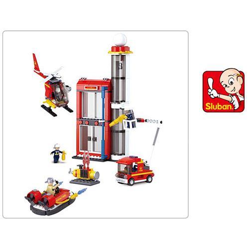 Конструктор SLUBAN M38-B0628 (16шт) пожарная часть, транспорт, фигурки,425дет,в кор-ке,29-43-7см