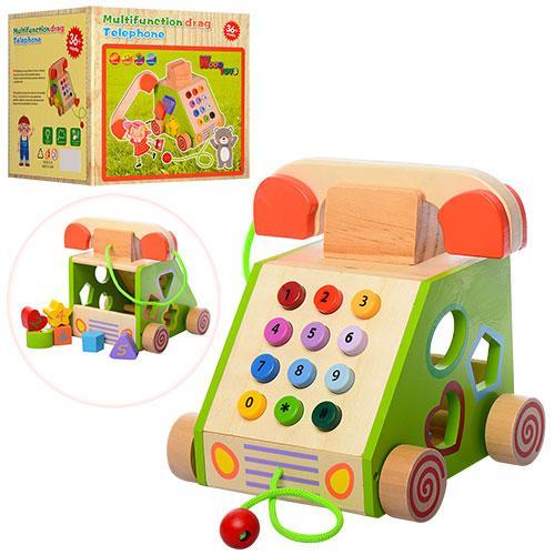 Деревянная игрушка Сортер MD 1109 (27шт) телефон,каталка,фигурки6шт,в кор-ке, 20-18-19см
