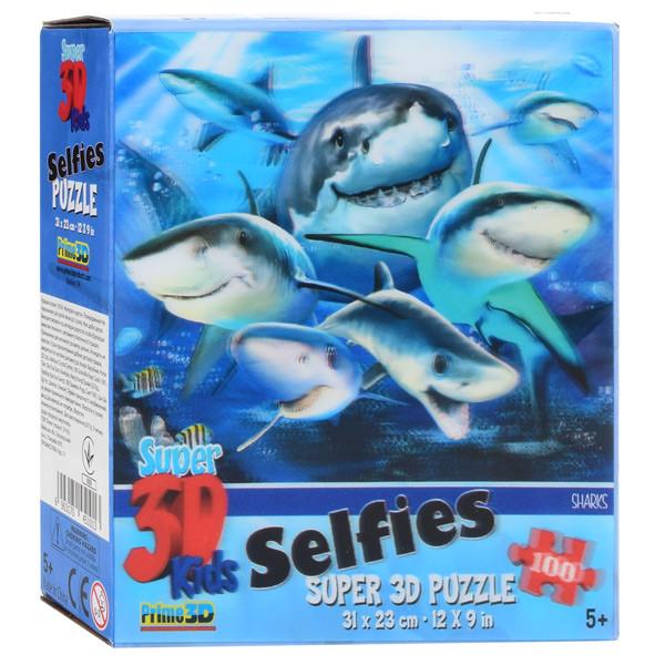 Пазлы 3D 13534 (32шт) акулы, 31-23см, 63дет, в кор-ке,15-15-5см
