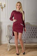 Платье с длинным рукавом бордового цвета София