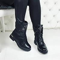 Женские зимние чёрные ботинки на шнурках