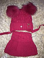 Комплект Шапка с шарфом-горловиной в малиновом цвете, фото 1