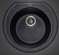 Круглая гранитная мойка 53 см Fancy Marble Tuluza светло черная