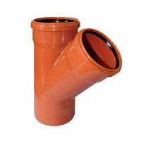 Тройник для наружной канализации 110 мм 45 градусов Мпласт