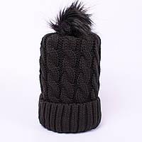 Женская вязаная шапка косичка с помпоном обсидиан CMF W18-03 01 obsidian