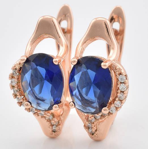 Серьги 54545 размер 17*8 мм, синие камни, позолота РО