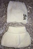 Комплект зимняя шапка Кошка и шарф-горлышко в молочном цвете, 52 размер, фото 1