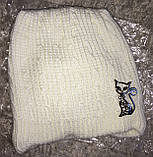 Комплект зимняя шапка Кошка и шарф-горлышко в молочном цвете, 52 размер, фото 2