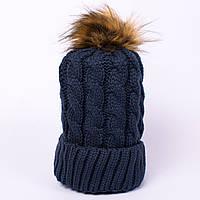Женская вязаная шапка косичка с помпоном морская CMF W18-03 03 navy