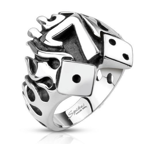 Кольцо горящая счастливая семерка нержавеющая сталь 316L Spikes (США) 21.25