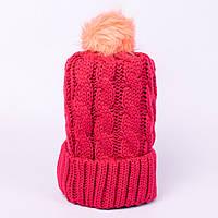 Женская вязаная шапка косичка с помпоном амарант CMF W18-03 06 amarant