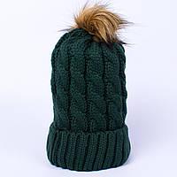 Женская вязаная шапка косичка с помпоном сосна CMF W18-03 09 pine
