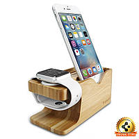 Apple Watch+iPhone Stand S370 Bamboo Wood, фото 1
