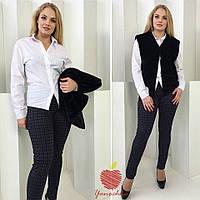 Женская приталенная рубашка на пуговицах БАТАЛ