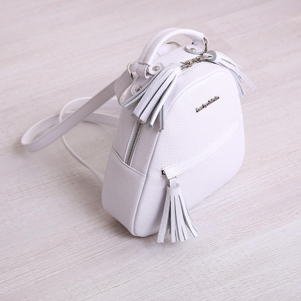 Рюкзак белый кожаный женский. цвет кожи можно любой. Производитель Украина
