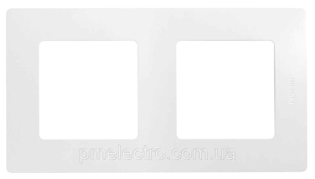 Рамка 2 поста Etika белый  672502