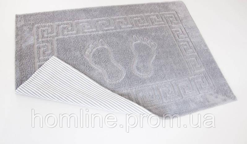 Махровый коврик для ванной прорезиненный Lotus 45*65 серый