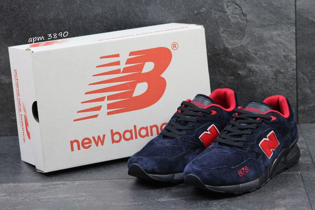 Кроссовки New Balance 878 Abzorb,замшевые,темно синие с красным