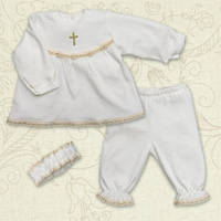 Комплект для Крещения для девочки интерлок