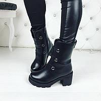 Женские чёрные ботиночки зимние на устойчивом каблуке