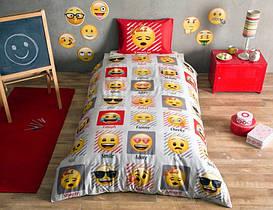 Постельное белье Tac Disney Emoji желтое подростковое полуторного размера