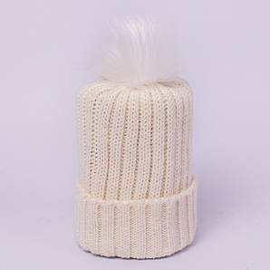 Женская вязаная шапка с помпоном белая CMF W18-12 01 Chiangrai