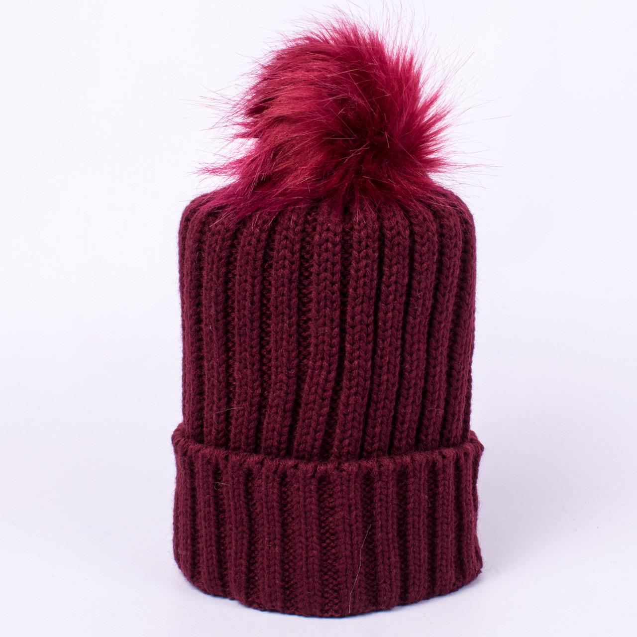 Женская вязаная шапка с помпоном бордовая CMF W18-12 05 Barselona