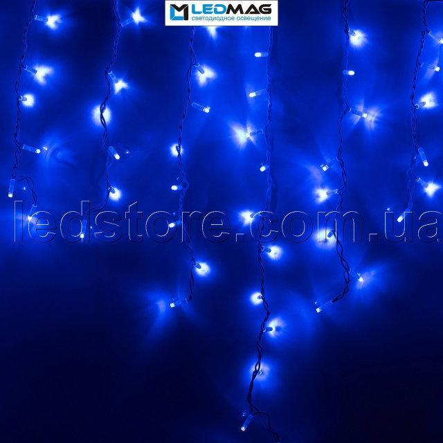 Светодиодная гирлянда бахрома Icicle Play Light 5х0.5м 300LED Каучук синяя на черном проводе