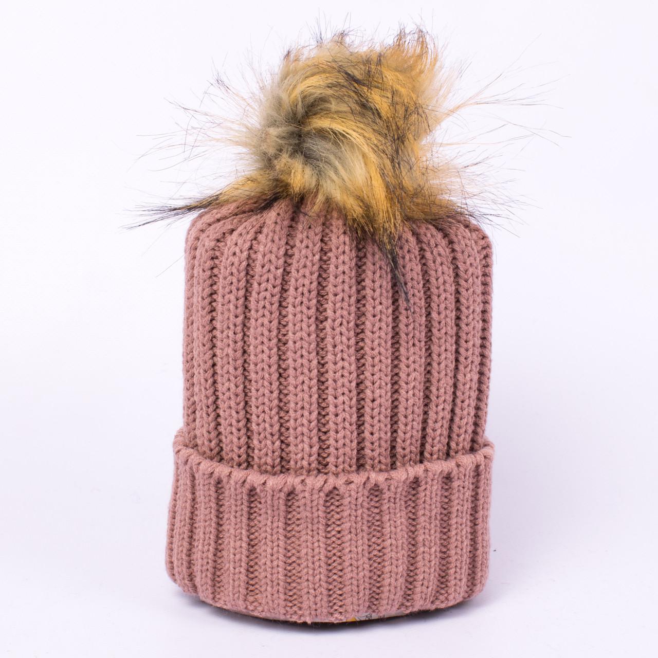Женская вязаная шапка с помпоном пепельно-розовая CMF W18-12 04 Karako