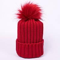Женская вязаная шапка с помпоном красная CMF W18-12 06 Amsterdam