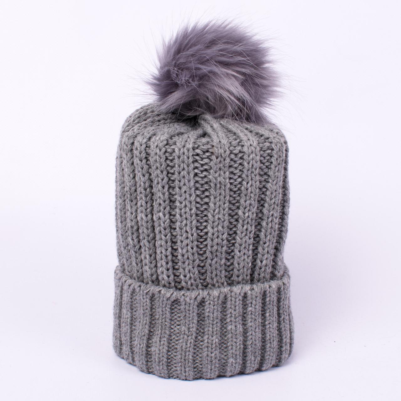 Женская вязаная шапка с помпоном серая CMF W18-12 07 Barrow