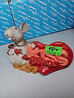 Сувенир визитница мышь с сердцем