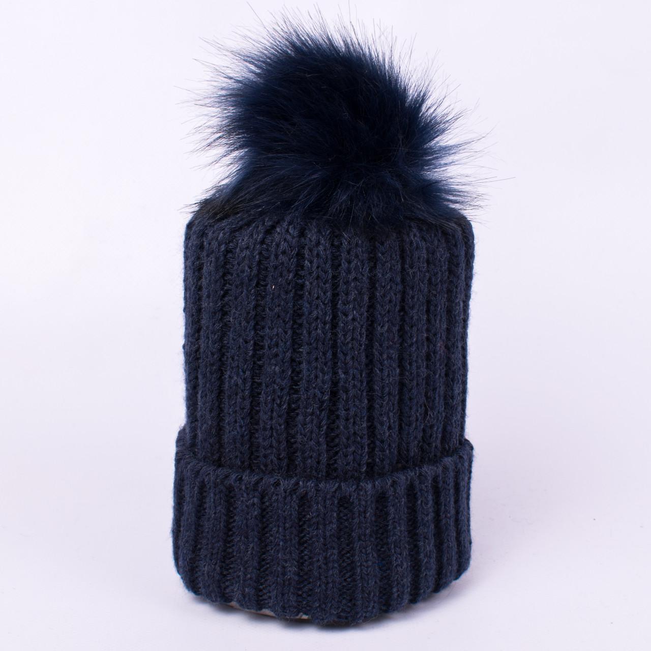Женская вязаная шапка с помпоном синяя CMF W18-12 08 Paris