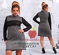 Женское платье из ткани букле с кружевной отделкой БАТАЛ, фото 1