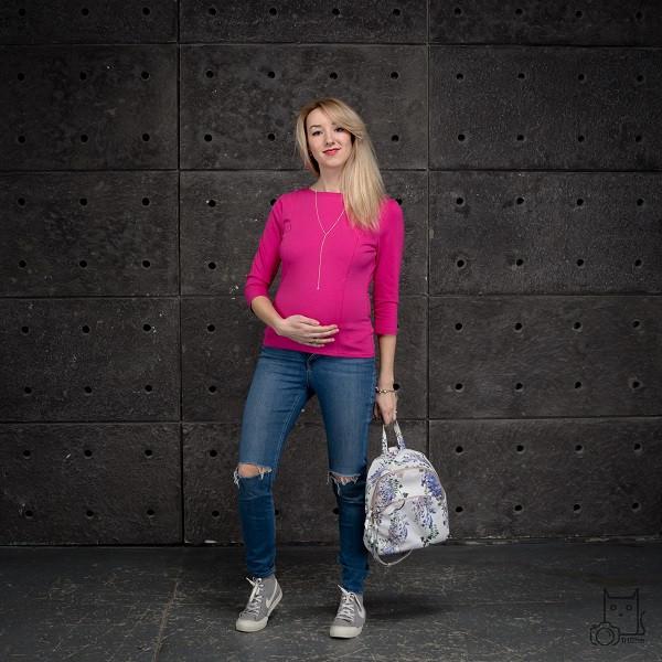 Світшот прямий для вагітних і годуючих мам HIGH HEELS MOM (рожевий, розмір S/М)