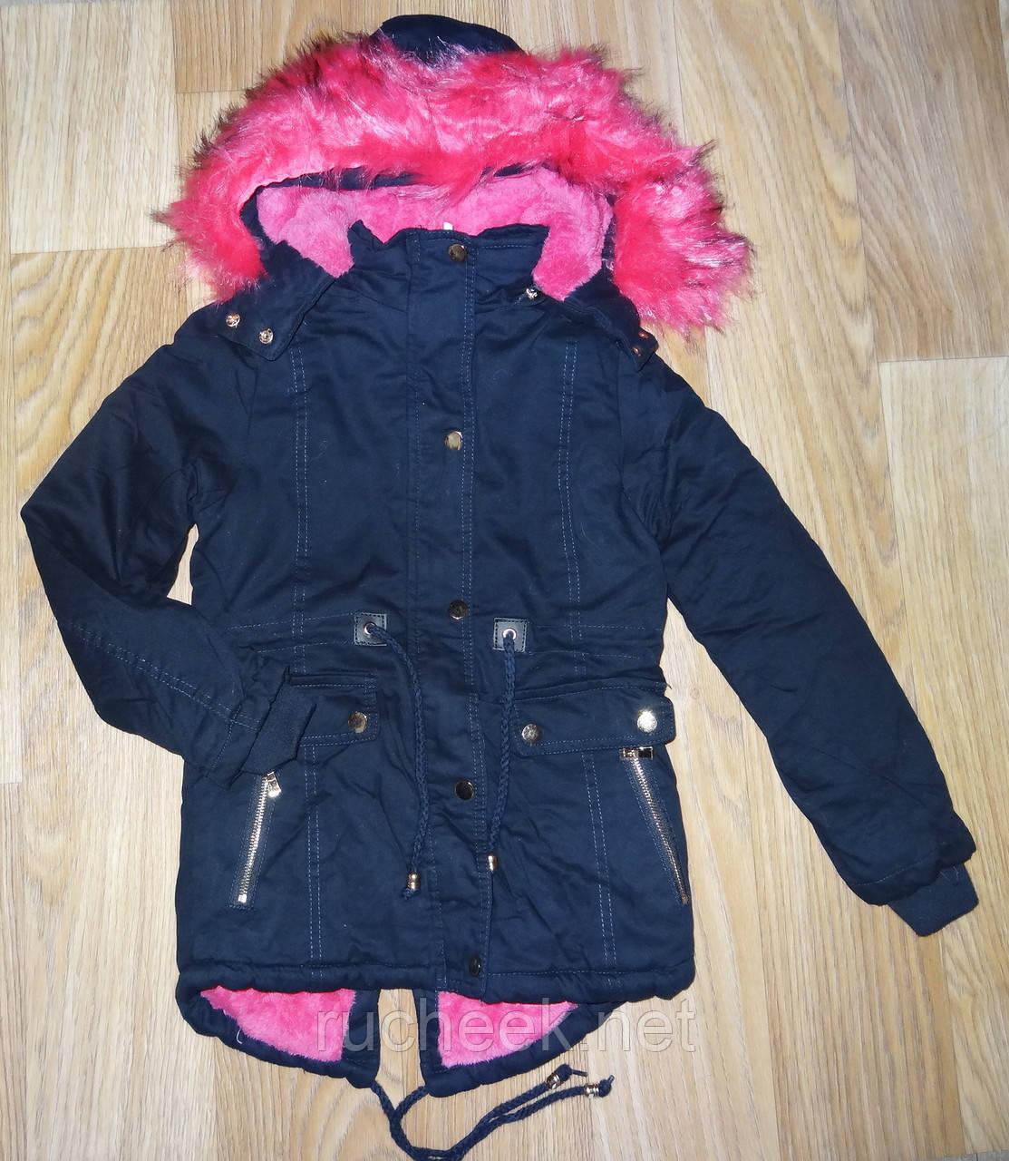 Зимняя куртка парка  для девочек на меховой подкладке, размеры 8, 14 S