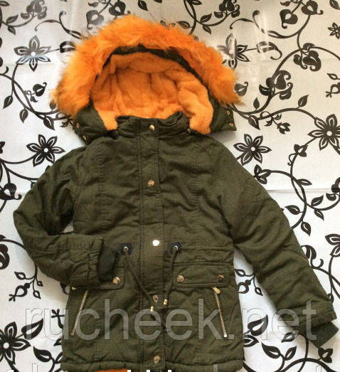 Зимняя куртка парка  для девочек на меховой подкладке, размеры 8-14 S&