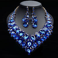 Набор бижутерии под золото с синими камнями, колье и серьги