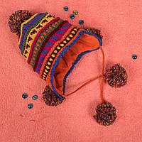 Детская вязаная шапка на флисе с завязками оранжевая CMF W16-09 01 Orange