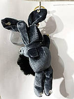 Темно серые брелки бархатные зайцы кролики с мехом, меховые брелоки оптом 305