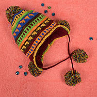 Детская вязаная шапка на флисе с завязками зеленая CMF W16-09 02 Green