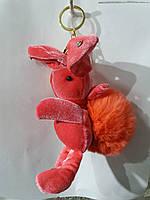 Оранжевые брелки бархатные зайцы кролики с мехом, меховые брелоки оптом 306