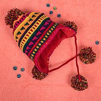 Детская вязаная шапка на флисе с завязками красная CMF W16-09 03 Red