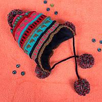 Детская вязаная шапка на флисе с завязками голубая CMF W16-09 04 Blue