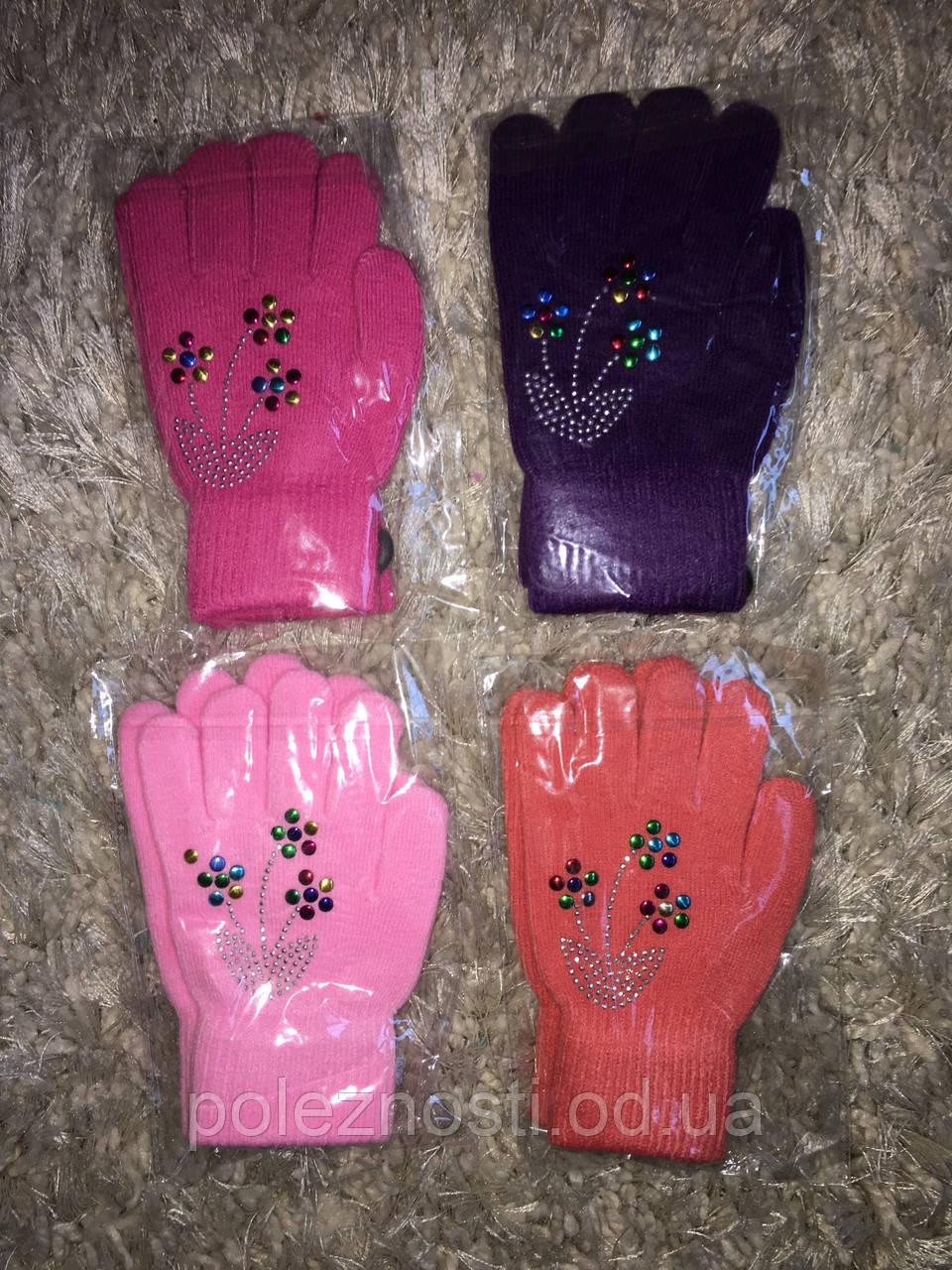 Перчатки для девочек, Букет, 5-8 лет (расцветки в наличии фиолетовый и оранжевый)