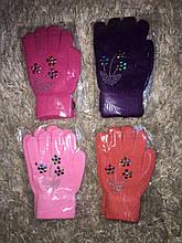 Рукавички для дівчаток, Букет, 5-8 років (кольори в наявності фіолетовий і помаранчевий)