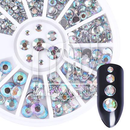 Камни Global Fashion карусель прозрачный хамелеон микс размеров, фото 2