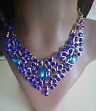 Набір біжутерії під золото з синім камінням, намисто і сережки, фото 3